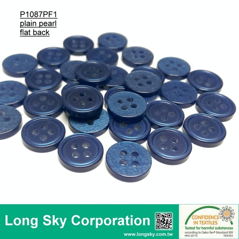 Taiwan (#P1087PF1) 18L 4 hole Bule polyester resin buttons