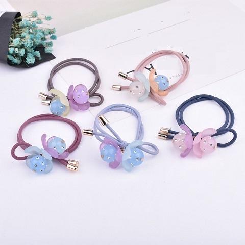 New Design Girl Hair Accessories Custom Printing/Stone/Glitter/Pearl Elastic tie/Ponytailer For Women