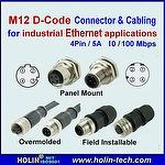 M12 D Coded Industrial Ethernet Connector and Cable Patch Cord