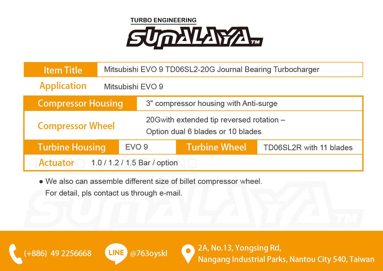 Taiwan Mitsubishi EVO 9 TD06SL2-20G Journal Bearing Turbocharger
