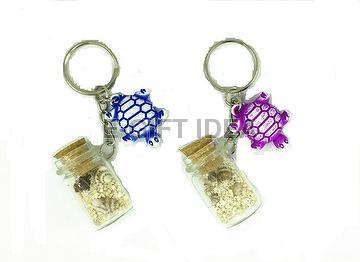 Seashell Bottle Key Chain(with a washed turtle)