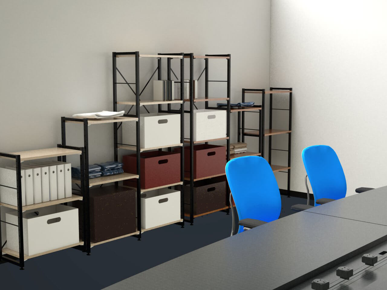 storage shelving units in the meeting room