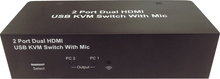 2 Port Dual Monitor / Matrix KVM Switch w/ Mic (MUC224)