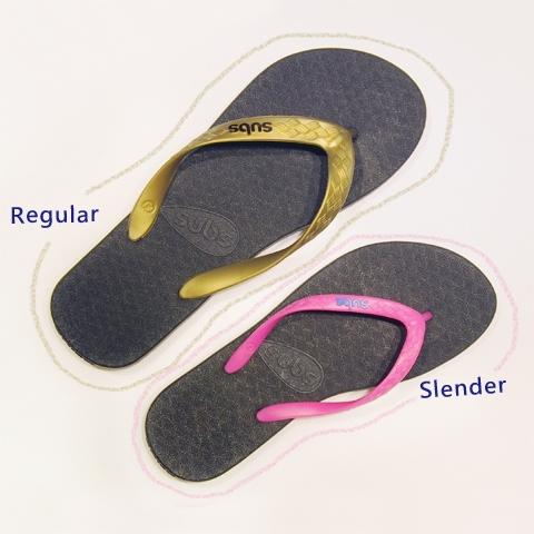 Regular and Slender fit soles and straps