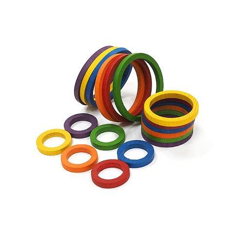 Ø30/Ø45/Ø60 x5mm, 6 Colors Wood  Semi Onion Rings,