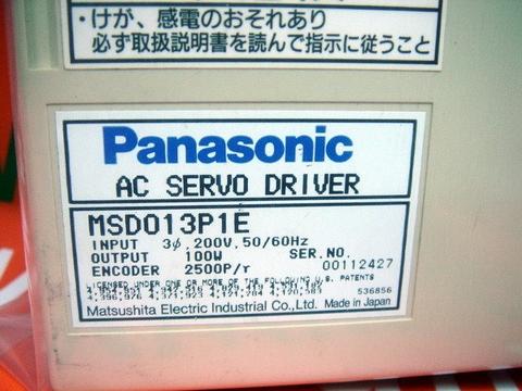 PANASONIC AC SERVO DRIVER MSD013P1E