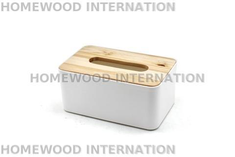 Rectangular Plastic Tissue Box with Wood