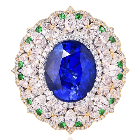 17.17CT Blue Sapphire Ring Brooch
