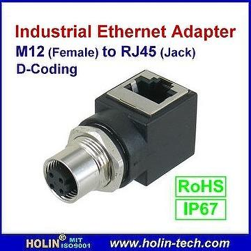 taiwan industrial ethernet adaptor m12 female to rj45 jack d m12 female to rj45 jack d coding