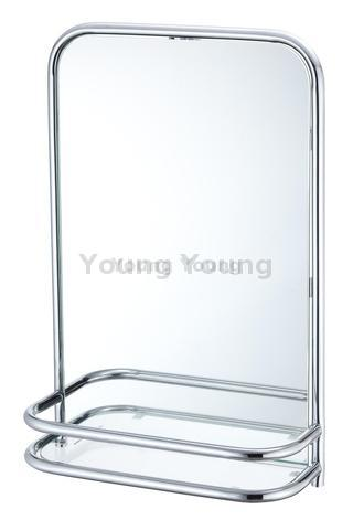 Wall Mounted Bathroom Mirror With Shelf Tempered Glass Chrome