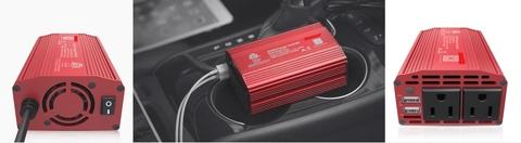 Portable car inverter 12 VDC to 230 VAC 2 USB Europe Plug - divingdog