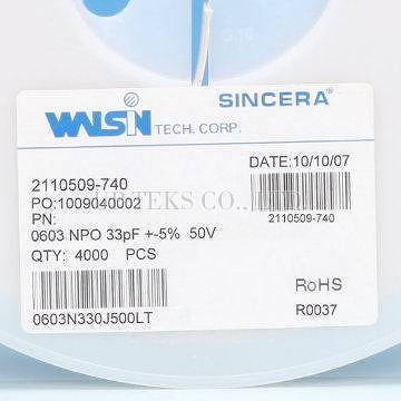 Taiwan 0603n330j500lt Walsin Smd Mlcc 0603 33pf 50v