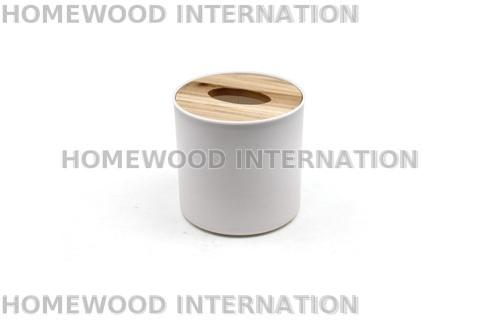 Cylindrical Plastic Tissue Box with Round Wood