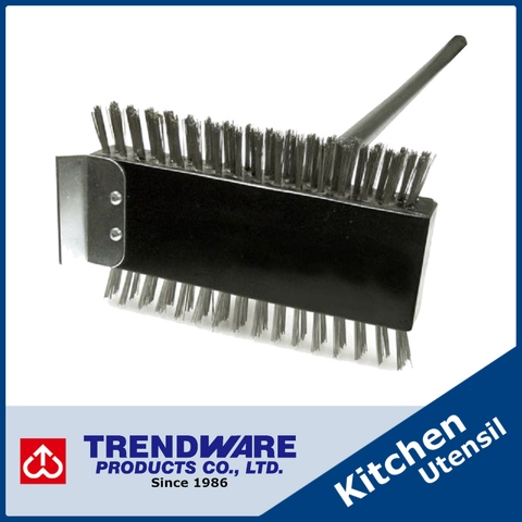 Brass Bristle High Quality Pizza Oven Brush with Steel Scraper and Long Handle