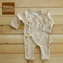 100 % Organic Colored Cotton baby Kimono Romper Long Sleeves