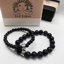 Obsidian Bracelets Lovers Set 6mm 10mm Beads Precious Stones Gift Box