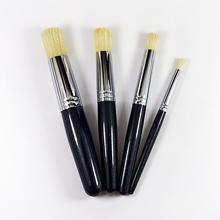 Artam 4pcs Round Hog Bristle Paint Brush Set