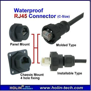 Waterproof RJ45 Connector System, includes Field Installable Cable Assembly (Plug) and Panel Mount RJ45 Jack / Coupler