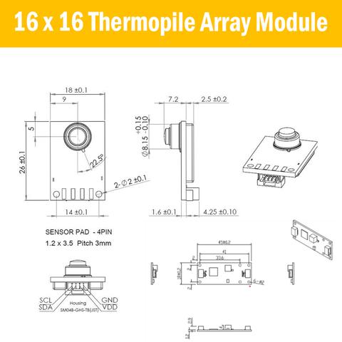 Non-contact IR Temperature Sensor Module Diemension