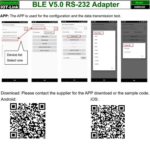 RS232 Bluetooth BLE V5.0 adapter test APP