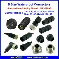 "Circular B Size Waterproof Connectors for Mating Thread 5/8""-27UNS"