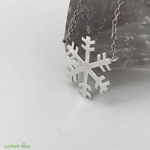925 Silver Necklace Snowflake Pendant Platinum-Clad