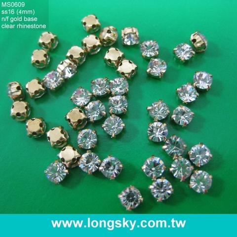 4mm SS16 DIY craft gold with crystal rhinestone cup loose