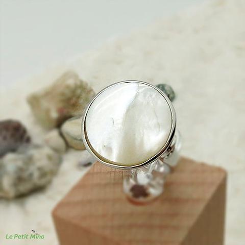 Ladies 925 Sterling Silver Mother of Pearl Ring 3