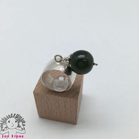 Silver Nephrite Ring Diamond shaped Markings