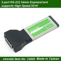2 port Serial High Speed 921K RS-232 34mm ExpressCard,RS232
