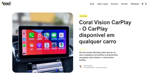 Thank  iFeed (Portugal) for reviewing Coral Vision CarPlay