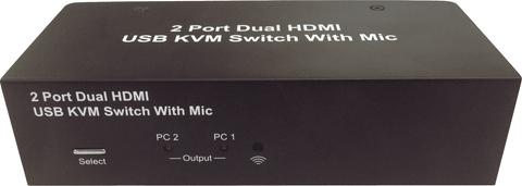 Taiwan 2 Port Dual Monitor / Matrix KVM Switch w/ Mic