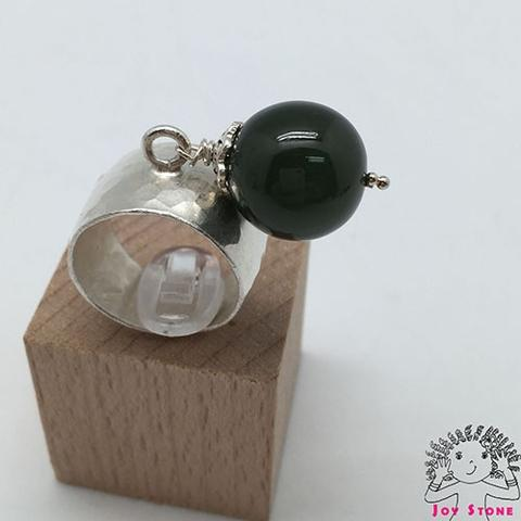 925 Silver Nephrite Diamond shaped Markings Ring