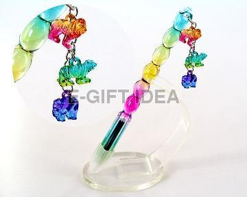 Glossy Rainbow Oval-shaped Pen (lion, tiger, elephant)