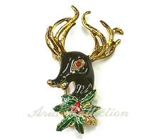 Christmas Reindeer Brooch  Enamel Pin Xmas Jewelry