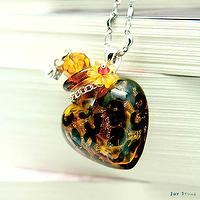 Essential Oil Diffuser Necklace Fashion Love Leopard Print Colored Aroma Vial Liuli Art Glass