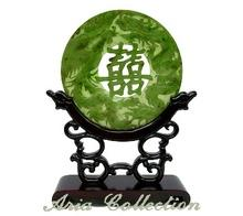 Taiwan Jade Screen - Jade Dragon Phoenix Double Happiness Carving Round Screen