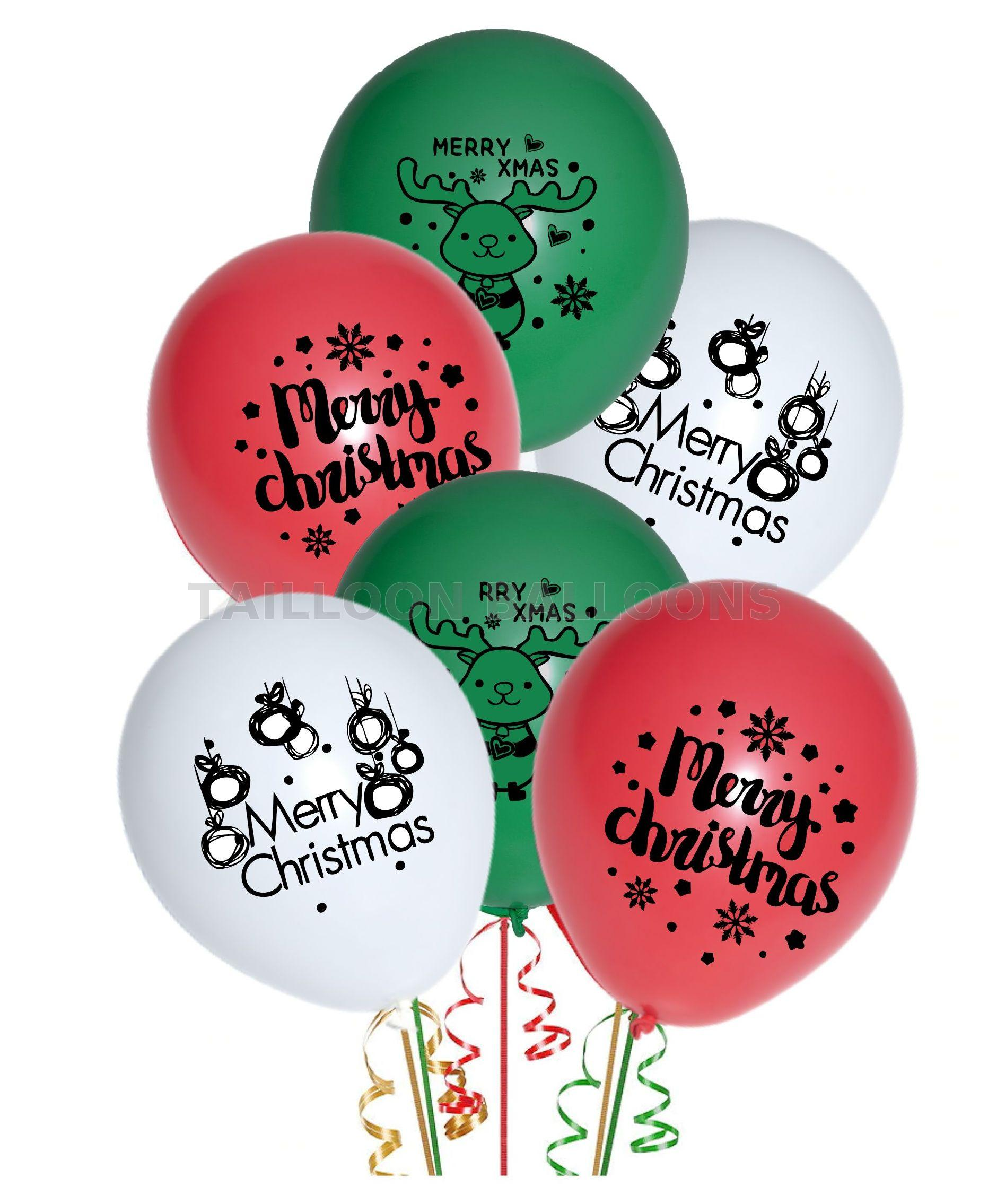 Merry Christmas Latex Ballons Green /& Red Xmas Decoration Pack Of 100