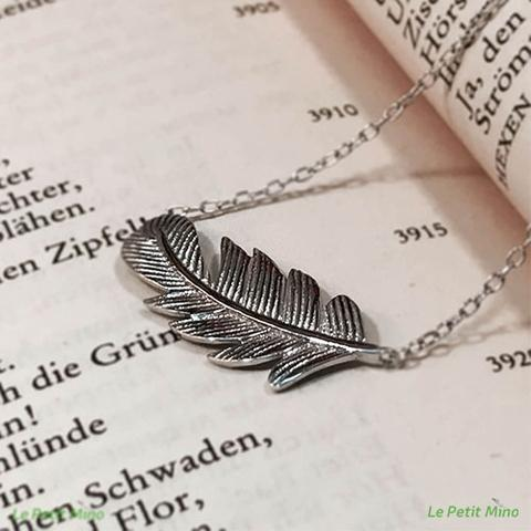 925 Silver Necklace Cedar Leaf Pendant Platinum-Clad