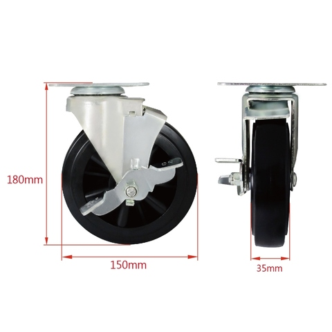6 Inch Heavy Duty Swivel Wheels Casters with Brake