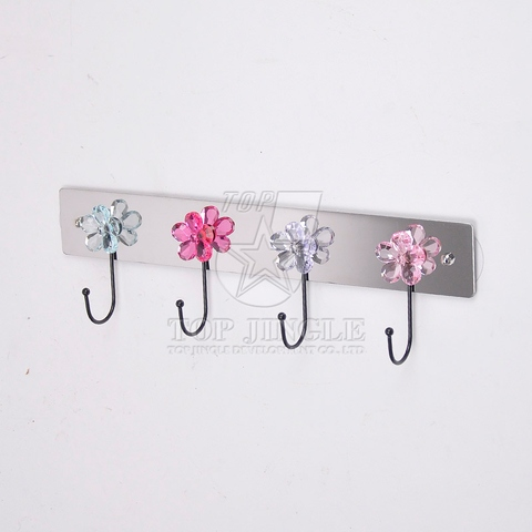 Stainless Board Removable Adhesive Sticker With 4pcs Diamond Flower Single Hooks