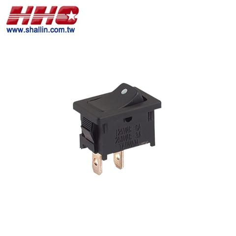 2P rocker switch (SPST) on-off, 125V 10A (250V 6A)