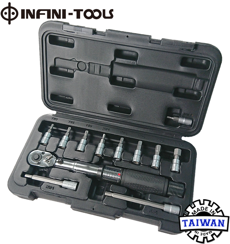 Bicycle Bike 1//4 Inch Driver Torque Wrench Allen Key Tools Socket Set Kit 2-24Nm