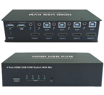 4 Port HDMI USB KVM Switch w/ Mic.
