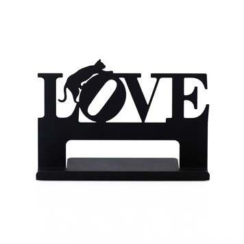 cell phone tablet business card holder stand love cat shape classic black gifts decors crafts - Cell Phone Business Card Holder