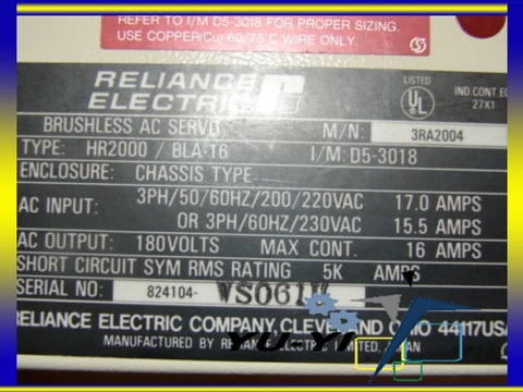 RELIANCE 3RA2004 HR2000 BLA-16 AC SERVO 180VAC 16A