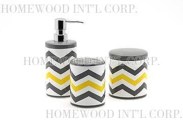 Bath Accessories  Ceramic Bathroom Set / Chevron Pattern / Cotton Ball Box,  Soap Dispenser, Toothbrush Holder