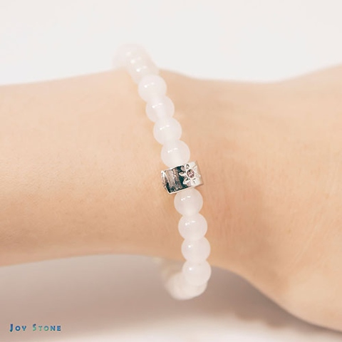 ba648145d Taiwan 6mm White Agate Beads Gemstones Bracelet Health Stone Craft Jewelry  | Taiwantrade