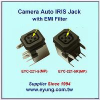 Auto IRIS Jack with metal EMI filter, with Central hole