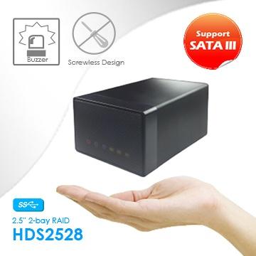 "Taiwan 2 x 2 5"" SATA HDDs Compact and screwless dual-bay HDD"